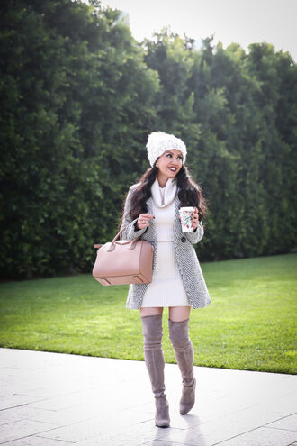 stylish petite blogger jacket coat dress sweater shoes bag hat jewels beanie winter outfits handbag boots over the knee boots givenchy bag sweater dress