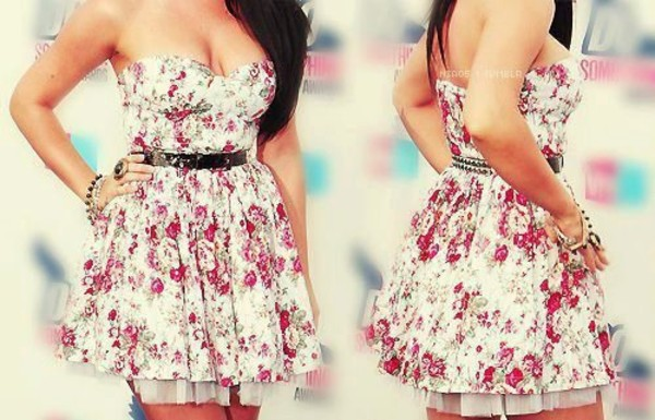 dress floral dress floral dress sleeveless dress floral floral white pink skater summer belt strapless