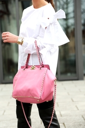 bag,tumblr,pink bag,tote bag,studs,studded bag,pants,black pants,blouse,white blouse,bow,long sleeves,gold watch,watch,bracelets,gold bracelet,ring,jewels,jewelry
