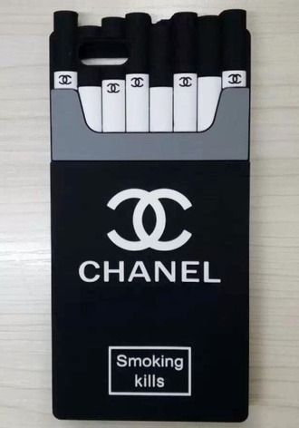 phone cover chanel grunge edgy alternative chic luxury brand iphone 6 cover cover smoking kills black and fuxia