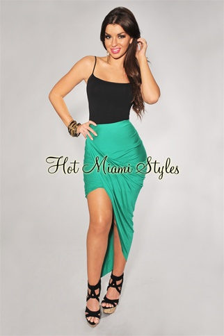 Kelly green ruched assymetrical draped skirt
