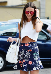 skirt,clothes,bag,shirt,sunglasses,dress,two-piece,white top,navy floral bottom