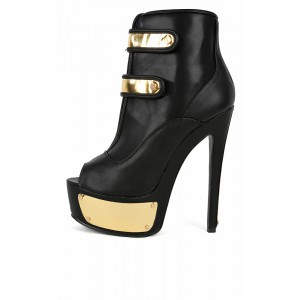 07 two tone fastener strap booties
