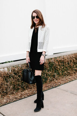 dallas wardrobe // fashion & lifestyle blog // dallas - fashion & lifestyle blog blogger dress jacket bag sunglasses shoes boots winter outfits handbag black dress