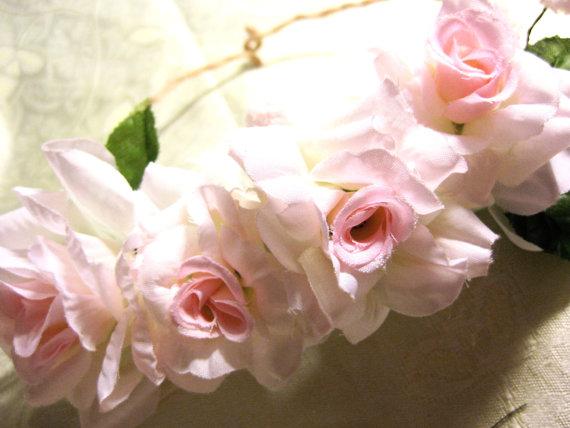 Romantic pink floral bridal crown  rose wedding by googoochichi