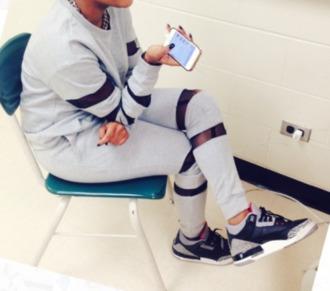 pants black pants sweater shoes grey sweatpants black sweatpants mesh leggings mesh sweatpants grey