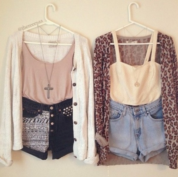 Shorts: cardigan, cute, cross, necklace, sweater, blouse, jacket ...