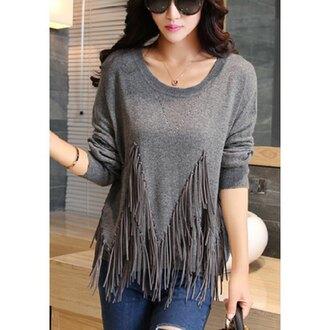 sweater fringes grey fashion rose wholesale streetstyle stylish boho