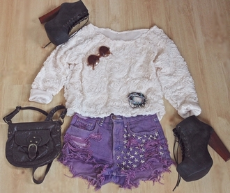 shirt blouse rose rosey white pretty girly girl cute nice t-shirt shorts