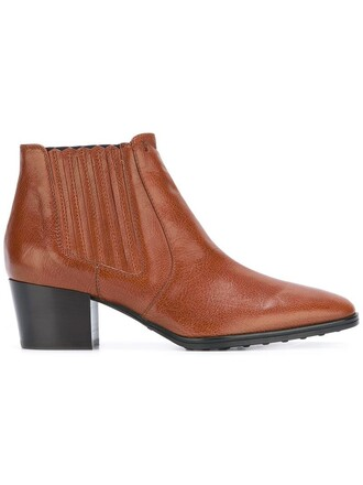 heel chunky heel women boots ankle boots leather brown shoes