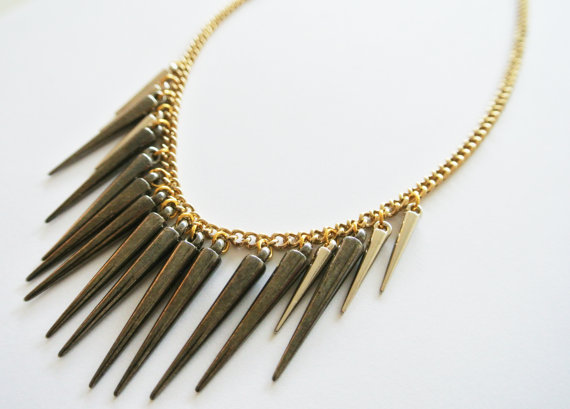 Doubled spiked gold silver and gunmetal necklace heavy by chanx