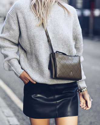skirt black skirt tumblr mini skirt leather skirt sweater grey sweater bag crossbody bag