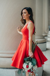 dress,tumblr,valentines day,red dress,a line dress,midi dress,flowers,long hair,hairstyles,earrings,date outfit,date dress