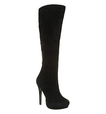 Office jameela platform boot black suede shoes