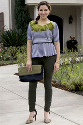 styleegrace,blogger,jewels,top,belt,pants,bag,shoes,striped top,green pants,high heel pumps,clutch,spring outfits