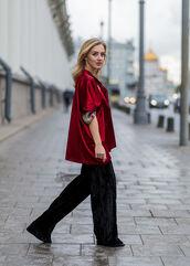 pants,wide-leg velvet pants,tumblr,wide-leg pants,black pants,velvet,velvet pants,jacket,red jacket,fall outfits,black velvet pants,black wide-leg velvet pants