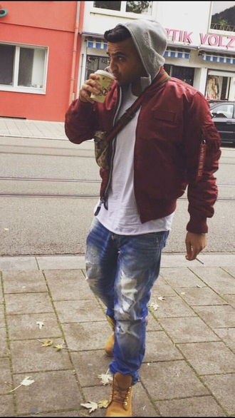 jacket college boy guys menswear bomber jacket burgundy urban menswear