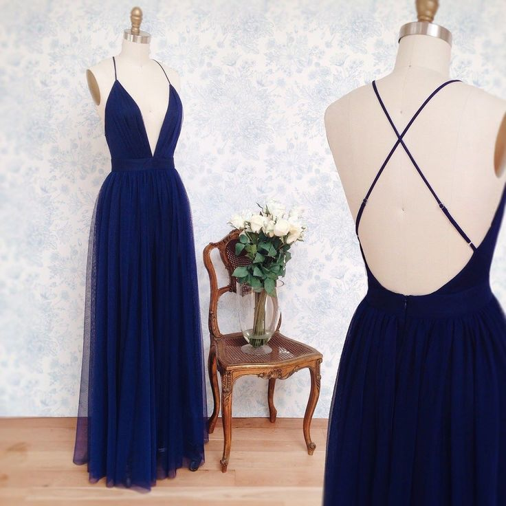 Simple A-lineRoyal Blue Long Tulle Prom Dress with Criss Cross Back on Storenvy