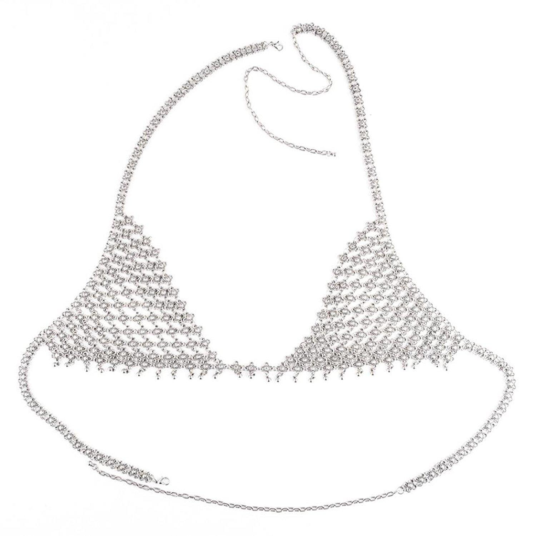 OverDose Retro Art und Weisesilber Büstenhalter Körper hängender Halsketten Ketten bikini: Amazon.de: Bekleidung