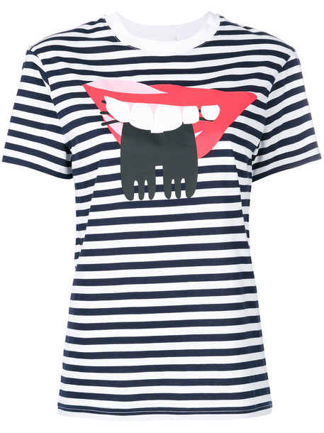 Peter Jensen t-shirt shirt t-shirt women lips cotton blue top