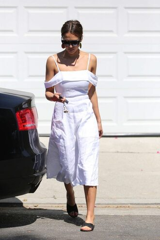 dress midi dress sunglasses white dress white jessica alba summer summer outfits summer dress shoes carrie forbes sandals flats slide shoes black shoes celebrities in white off the shoulder off the shoulder dress black sunglasses