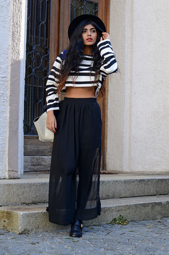 she wears fashion sweater bag shoes skirt cropped sweater hat