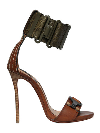 sandals leather sandals leather crocodile green brown shoes