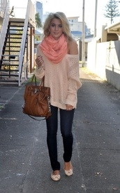 sweater,clothes,knit,cute,winter outfits,fall outfits,scarf,skinny jeans,flats,coral,pink,blue,off the shoulder sweater,bag,handbag,purse,one shoulder,fashion,fall sweater,outfit,jeans