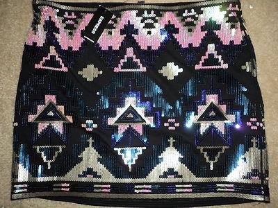 Express aztec black purple tribal sequin short very sexy short skirt small