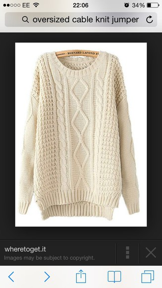 jumper oversized cable knit cream