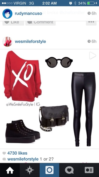 red shirt xo sweater off the shoulder sweater weeknd sweater
