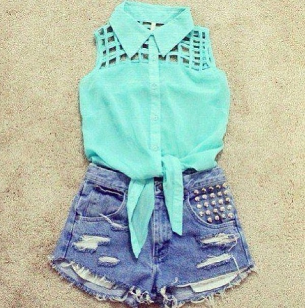 blouse blue denim shorts cute blouse