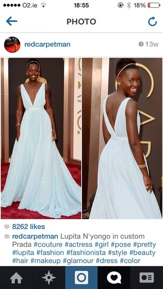 dress prom dress blue dress lupita nyong'o, light blue dress