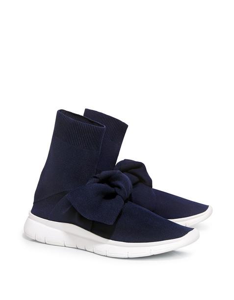 Joshua Sanders Oversized Bow Knit Sock Sneakers Navy