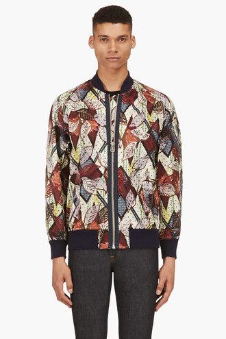 leaf clothes green print jacket menswear outerwear burgundy bomber jacket