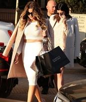 jacket,khloe kardashian,kylie jenner,midi skirt,coat