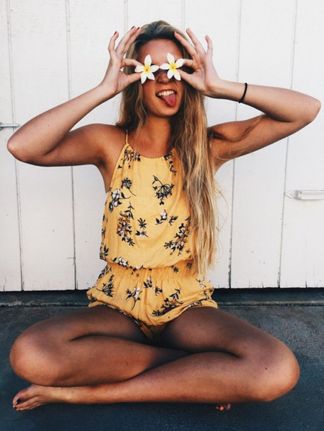 romper yellow floral summer vintage floral romper floral dress yellow playsuit flowers cute tank top jumpsuit boho yellow floral romper orange summer outfits casuals cool girl hipster cute rompers navy flowers pattern style spring outfits clothes summer romper halter top daisy rompers romper shorts cute romper dress rose