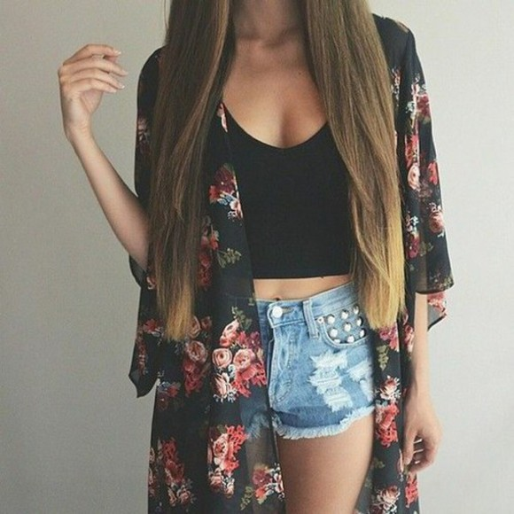 jeans denim blouse ripped shorts cardigan long hair black tank black cardigan black crop top girly fashion outfit floral cardigan spring outfits