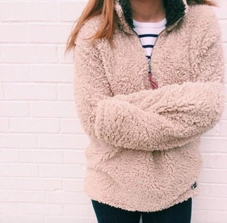 jacket clothes fuzzy coat half-zip sweater patagonia winter outfits fuzzy sweater pink college cozy winter sweater preppy sweatshirt fur coat comfy teddy fur pullover