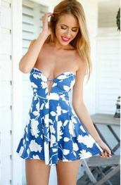 dress,girl,girly,girly wishlist,blue,blue dress,floral,strapless