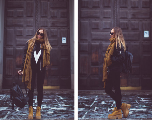 kenza blogger scarf winter outfits platform shoes leather backpack bomber jacket bag jacket shoes
