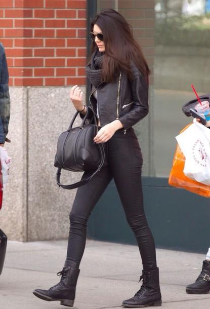 jeans kendall jenner fashion beautiful black shoes jacket bag sunglasses scarf bones heels ankle boots high heel celebrity heels
