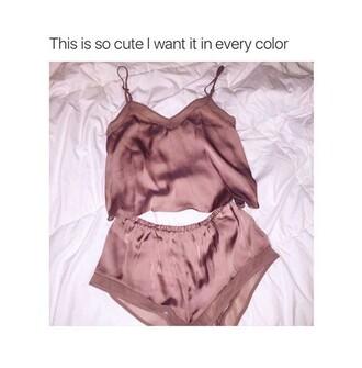 pajamas silk pink gold rose gold shorts tank top