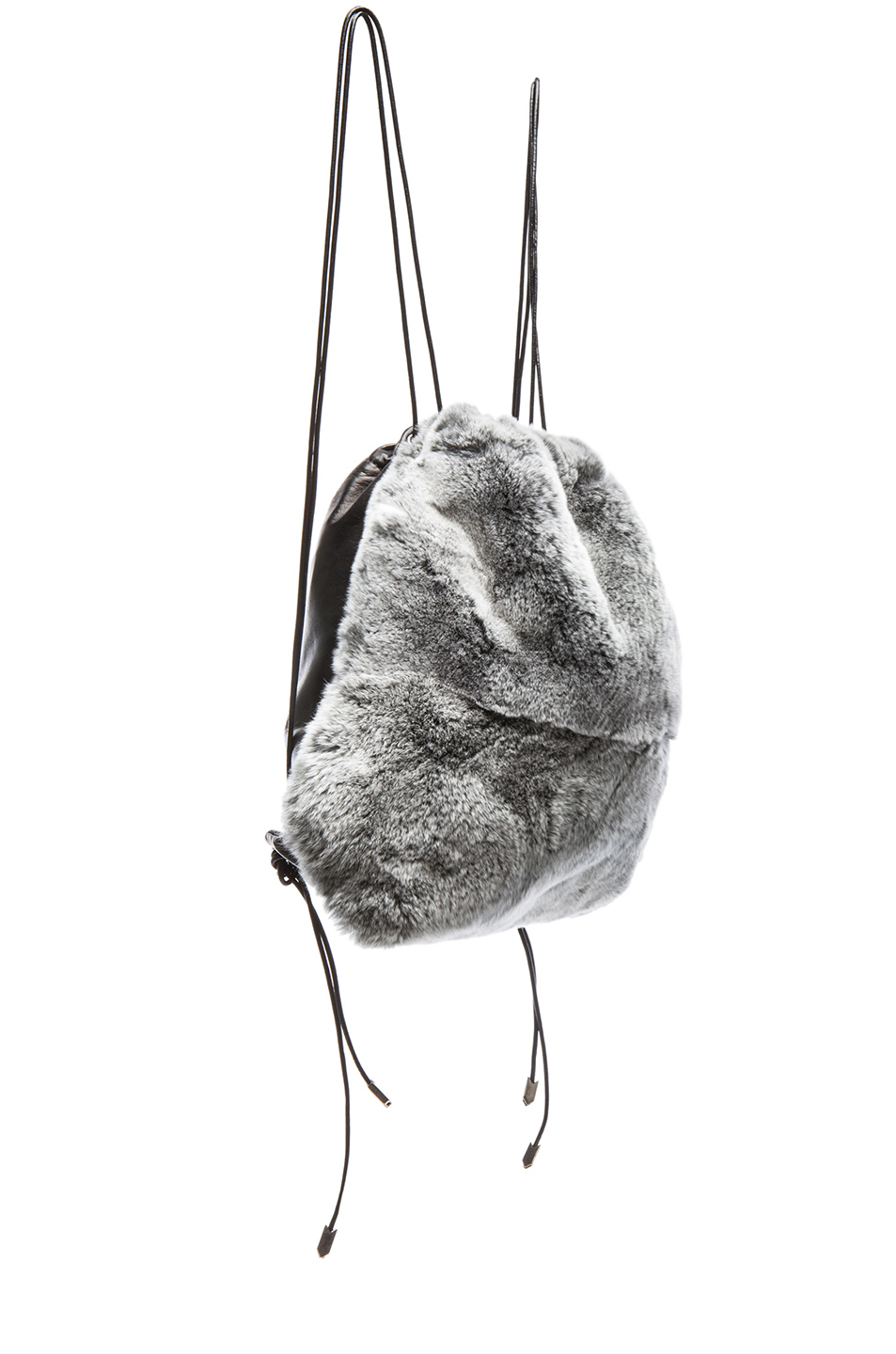 Boyy | Rabbit Fur Sloppy Joe Satchel in Salt & Pepper