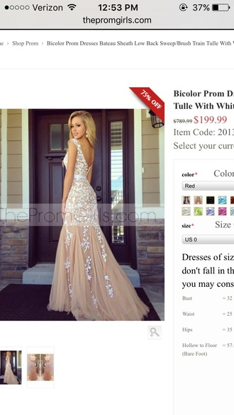 dress long tan v back floor length with white lace