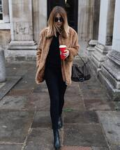 coat,faux fur coat,oversized coat,ankle boots,black boots,jeans,black jeans,skinny jeans,shoulder bag,sunglasses,black blouse