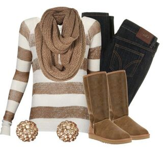 jewels winter outfits scarf shirt earrings gold earrings bling striped shirt long sleeve shirt tan and cream colored brown scarf dark wash skinny jeans golden earrings brown boots