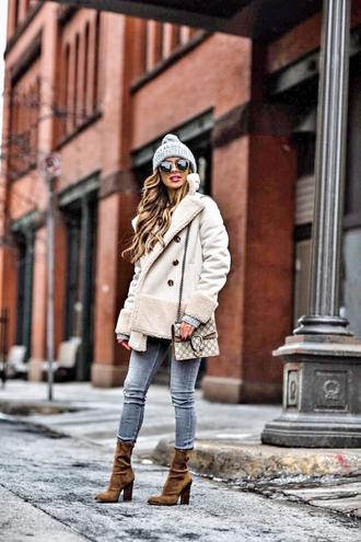 jacket tumblr white jacket shearling jacket shearling beanie grey beanie sunglasses pom pom beanie denim jeans blue jeans boots brown boots