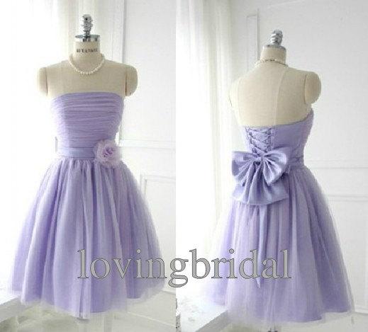Purple Short chiffon prom dress Evening by lovingbridal