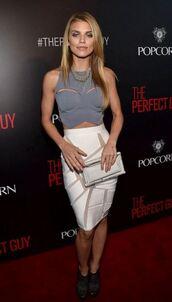top,skirt,pencil skirt,crop tops,bustier,annalynne mccord,sexy